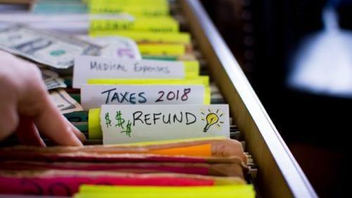 Tax Refund Folders Stock Photo