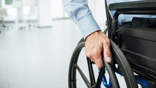 Young Man In Wheelchair Stock Photo